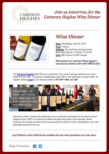 Cameron Hughes Wine Dinner